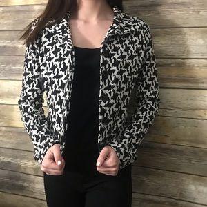 Luii Black White print knit stretchy jacket S